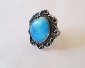 Navajo -  Sterling - Turquoise Ring - Native American - Old & Unmarked as is traditional -Size 10 - FREE SHIPPING