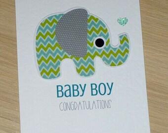 Baby Boy congratulations card with sweet elephant - new baby card - baby boy - handmade greeting card