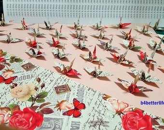 """100pcs """"Love Message"""" 1.5"""" Origami Cranes Hand-folded From 1.5""""x1.5"""" Paper. (WR paper series). #FC15-64."""