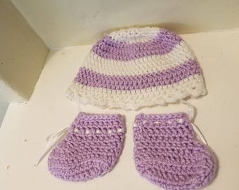 Baby Hat and Booties Handmade Lavender and White