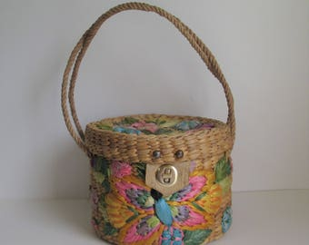 60's Mantessa woven straw with Raffia embroided butterflies and flowers  hat box style top handle Novelty purse
