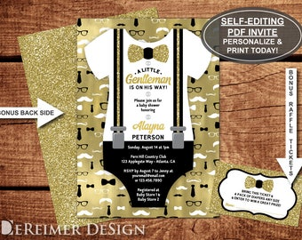 Little Man Baby Shower Invitation, Onesie, Little Man Pattern, Bow Tie, Suspenders, Black, Gold, Self-Editing Invite, BONUS Diaper Raffle