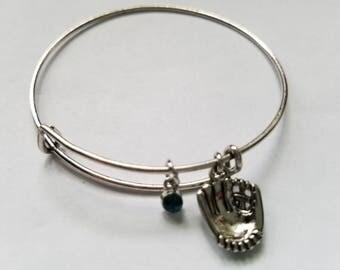Silver Baseball/Softball Bangle Bracelet with Birthstones