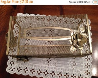 On Sale Vintage Gold Tone Mesh Tissue Holder