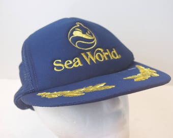 Seaworld 90s captain hat cap Sea World whale dolphin snapback mesh