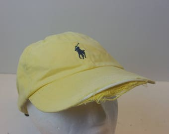 DISTRESSED Polo Ralph Lauren leather strap hat cap low profile 90s
