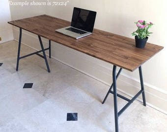 Large Desk, Hand Finished Wood And Metal Table On Ikea Legs, Long Desk