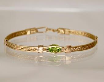 Peridot Gemstone - Thin Gold Filled Wire Wrap Bracelet