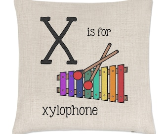 Letter X Is For Xylophone Linen Cushion Cover