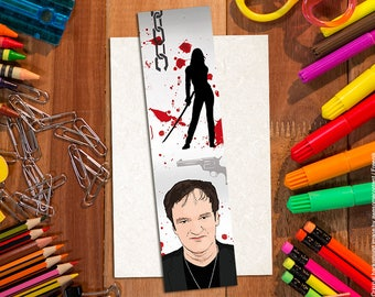Quentin Tarantino bookmark, cartoon style, high quality print