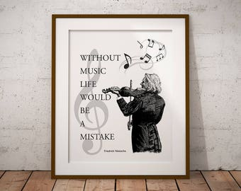 Music poster, quotes about music, printable wall art, Nietzsche quote, typography poster, instant download, 16x20 print