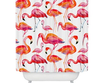 pink flamingo shower curtain white and pink girls gift flamingo bathroom decor - Pink Flamingo Bath Decor