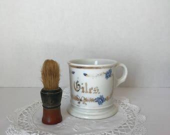 Ironstone * Shaving Mug * Antique Shaving Mug with Brush * Shaving Brush * Ironstone Shaving Mug * Antique Shaving Mug