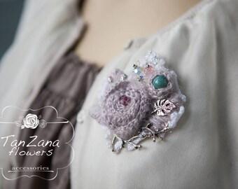 Unique brooch, knitted wool brooch,  Beautiful handmade brooch