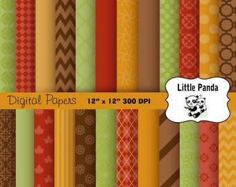 60% OFF SALE Thanksgiving Digital Papers  24 jpg files 12 x 12 - Instant Download - D178