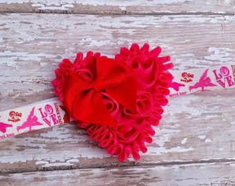 Valentine's heart headband - Hot pink and red heart headband - baby valentines headband - first valentines day headband - baby girl bow