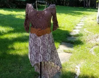 Brown and Cream Lace Cowgirl Boho Gypsy Dress