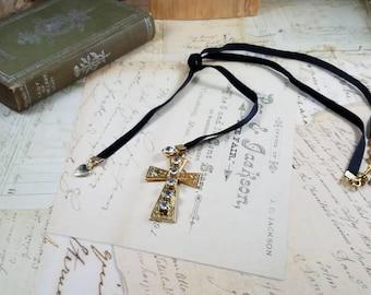 Velvet Rhinestone Gold Cross Choker Necklace