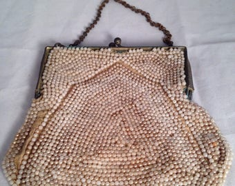 Art Deco Beaded Evening Purse with Brass Frame Vintage 1920s Beaded Purse Flapper Purse Great Gatbys