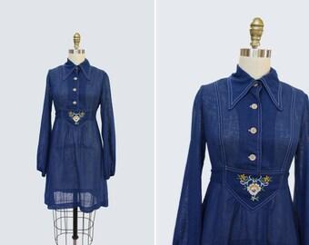 1960s Double Talk Dress { S } Vintage 60s Faux Denim Dress