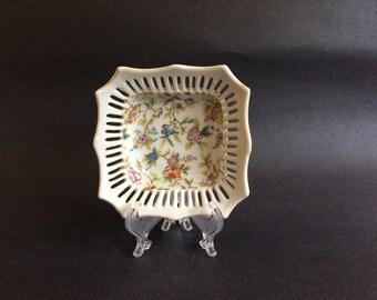 Vintage CHINA TRINKET DISH, Small Flowered China Trinket Dish,Cut-out Pierced Sides, Vanity/Dresser/Desk Organizer, Home Organization Aid