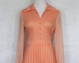 Vintage 1970s Pleated Peach Maxi