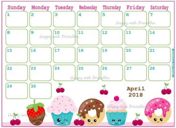 Calendar April 2018 Bake Planner Printable Cute Planner