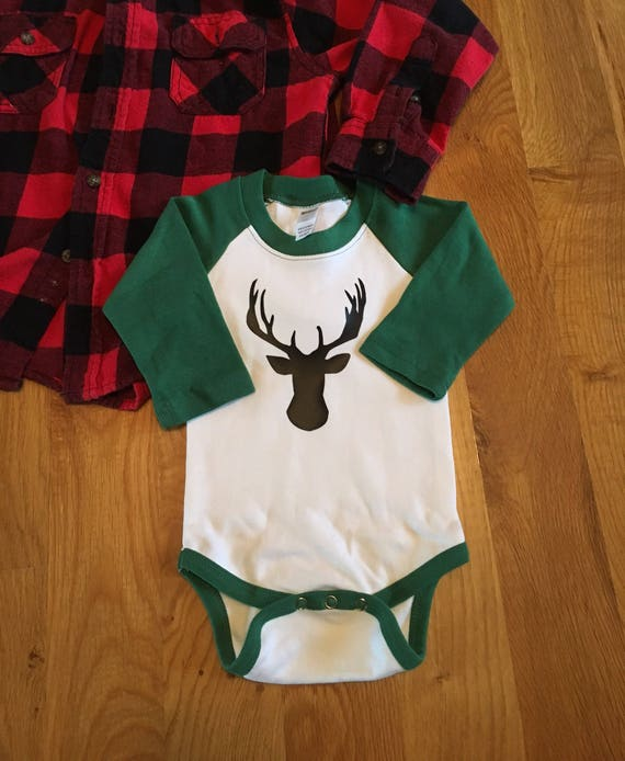 Baby boy deer reglan bodysuit, Christmas boys onesie ready to ship, boys Christmas shirt deer onesie, boys deer bodysuit