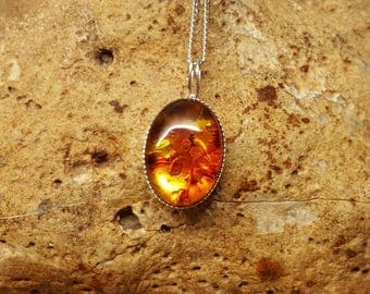Small amber pendant. Reiki jewelry uk. Russian pressed amber necklace 14x10mm