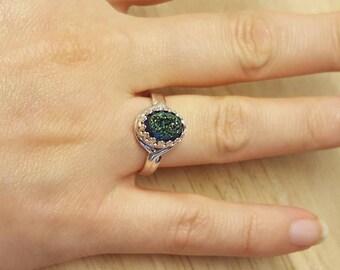 Rainbow aura quartz ring. Raw druzy quartz ring. Blue Mystic quartz ring. Reiki jewelry uk. 10x8mm stone