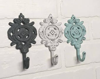 Decorative Hooks/Shabby Chic/Coat Hook/Towel Hook/Decorative Wall Hook/Cast Iron Decor/Ornate Wall Hook/ Gift Idea
