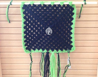 Crocheted nature wall tapestry
