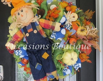 ON SALE Fall Wreath, Fall Decoration, Front door wreath, Wreath for door, Deco Mesh Wreath, Ready to Ship