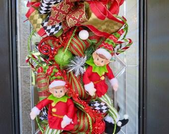 Christmas Door Swag, Christmas Wreath, Wreath for door, Front door wreath, Whimsical Wreath, Ready to Ship