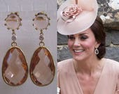 Kate Middleton Duchess of Cambridge Inspired Replikate Chandelier Pear Drop Peach Morganite Halo Crystal Earrings
