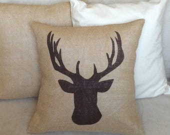 SALE Deer Burlap Pillow - Rustic,Gifts For Him,Man Cave,Fathers Day,Antler Pillow - Cabin decor -Ships Within 3 DAYS!
