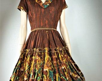 RARE 40s  50s Mexican Circle Skirt / Vng Patio Dress Rayon Metal Zipper Semi Sheer / Vng Square Dance Dress / 40s Pin Up Rockabilly Dress