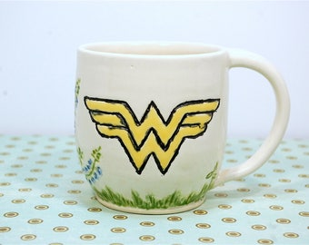Handmade White Ceramic Coffee Tea Mug with Bluebonnets and Wonder Woman symbol, earthy, non-toxic glaze - ready to ship