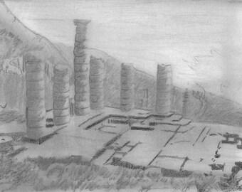 An original pencil drawing of the Temple at Delphi