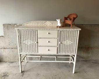 Sold*Do Not Buy*Vintage White Wicker Dining Buffet Or Nursery Furniture