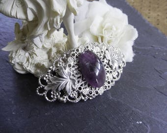 Barrette elven/fairytale amethyst and silver leaves - Purple Wind