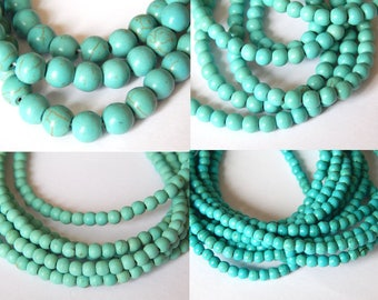 Synthetic turquoise beads, turquoise bead reconstituted, choose your size