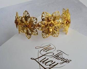 Golden primrose Bridal  flower  headband