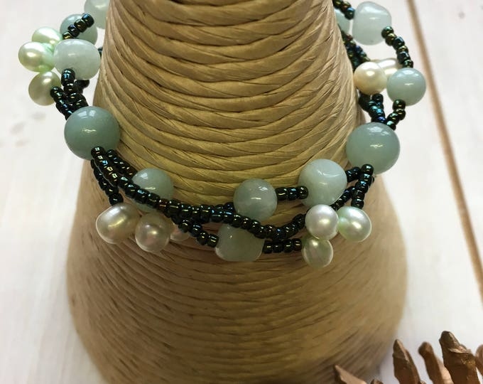 Brazilian Amazonite, Green Jade and freshwater pearl bracelet