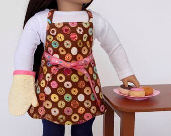 18 inch girl doll clothes -  Donuts Scalloped Hem Apron with oven mitt
