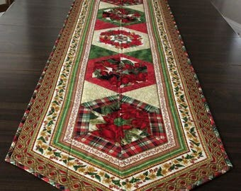 Quilted Christmas Table Runner, Ornate Ribbon Quilt Table Scarf, Xmas Tabletop Dining Decor