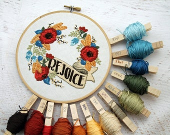 Rejoice Christmas Flower Fall Winter Autumn Floral Bouquet Embroidery Hoop Art - Detailed Red Poppy, Greenery, Blue Yellow Flowers on Cotton