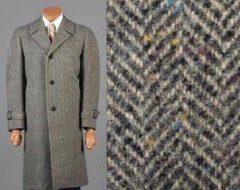 SALE Herringbone Tweed Overcoat 1970s Tweed Coat 70s Winter Coat 1970s Herringbone Coat Fleck Tweed Car Coat Overcoat Herringbone Fleck Twee