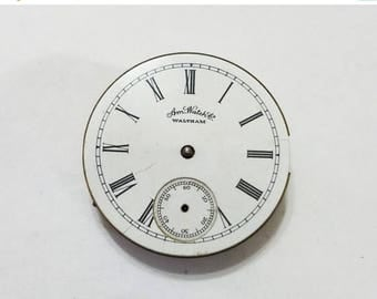 ON SALE Antique, Waltham, Pocket Watch, Movement, Dial, 1s, Seaside, Steampunk, Mixed Media, Jewelry, Beading, Supply, Supplies