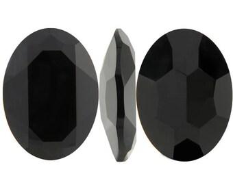 4127 JET 30x22mm Swarovski Crystal Oval Faceted Fancy Stone No Hole, Dark Black